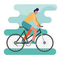 young man riding a bike vector