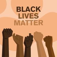 diseño de la materia de las vidas negras con los puños arriba vector