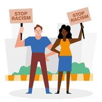 detener el racismo, las vidas negras importan pancartas con diseño vectorial de mujer y hombre vector