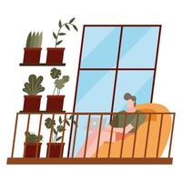 man with laptop at home vector design