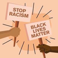 las vidas negras importan y detener el racismo banners vector design