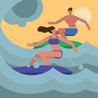 young couple wearing swimsuits and surfing vector