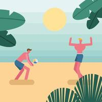 young men wearing swimsuits and playing volleyball vector