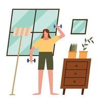 woman lifting weights at home vector design