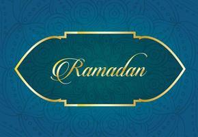 letras de ramadan kareem con decoración de marco dorado