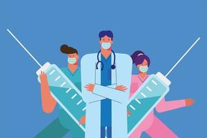 Health care workers with syringes vector