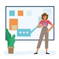 mujer con tablero en el diseño de vectores de oficina