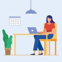 mujer de diseño plano en la oficina vector