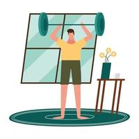 man lifting weights at home vector design