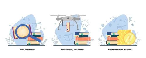 Searching book, Book Delivery, digital bookstore, online payment icon set. Book Exploration, Book delivery with drone, Online Payment. Vector flat design isolated concept metaphor illustrations