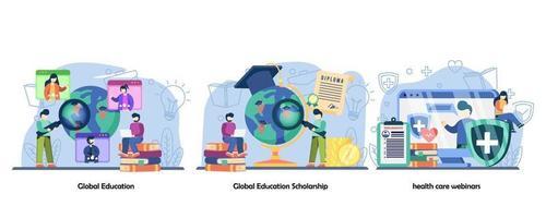 educación global, becas, seminarios web de salud. educación en línea, conjunto de iconos de capacitación en línea. vector diseño plano aislado concepto metáfora ilustraciones