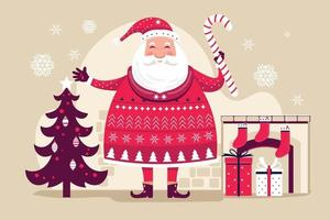Santa Clause holding candy cane with Christmas elements vector