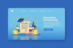 Modern flat design vector illustration. Education Scholarship landing page and website banner template. Global Education, Distance Education, Student Loan, Investment in Education, abroad educational.