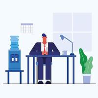 hombre de diseño plano en la oficina vector