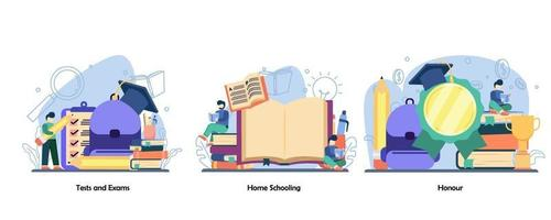 Exam Preparation, Distance education, Achievement icon set. Test and exams, Home Schooling, Honour. Vector flat design isolated concept metaphor illustrations