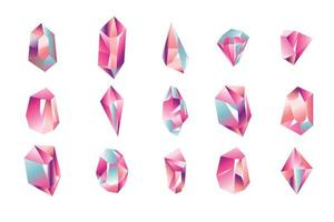 Set of Crystal Gemstones Collection vector