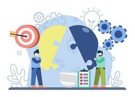 La solución empresarial de trabajo en equipo con personajes recoge las piezas del rompecabezas de la bombilla. trabajo en equipo, resolución de problemas, compartir ideas, idea creativa. diseño gráfico para página de destino, web, aplicaciones móviles, banner, plantilla vector