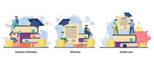 saving money, education reward, student exchange icon set. investment in education, scholarship, student loan.Vector flat design isolated concept metaphor illustrations vector