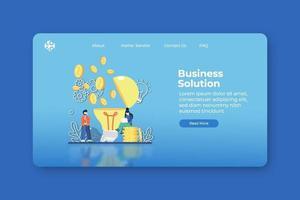 Ilustración de vector de diseño plano moderno. página de destino de la solución empresarial y plantilla de banner web. idea innovadora, creativa, solución de nuevas ideas, resolución de problemas.