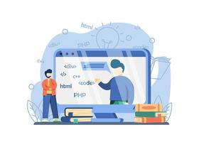 Online IT Courses Concept. students learn programming languages with teacher on screen. distance education, Internet learning, Computer programming. vector illustration for web banners, landing page