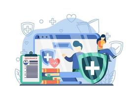 health care online webinars. woman sit on medical shield watch online webinars. online webinars, online courses, training, insurance. can be used for landing pages, web, banners, templates. vector