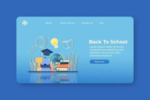 Modern flat design vector illustration, Back To School Landing Page and Web Banner Template. Learning and Study, Collage, Education.