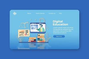 Ilustración de vector de diseño plano moderno. Página de inicio de educación digital y plantilla de banner web. e-learning, educación a distancia, aprender en cualquier lugar, aprendizaje en casa, enseñanza en línea, concepto de seminario web.