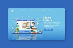 Ilustración de vector de diseño plano moderno. Página de inicio de biblioteca digital y plantilla de banner web. e-book, enciclopedia, estudiar literatura, aprender en cualquier lugar, educación a distancia, el libro es conocimiento