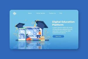 Modern Flat Design Vector Illustration Digital Education Platform Landing Page and Web Banner Template. Digital Education, E-Learning, Online Education, Tutorial Video, Online Teaching, Online class.