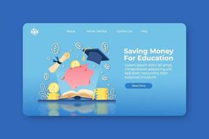 Modern Flat Design Vector Illustration. Saving Money For Education Landing Page and Web Banner Template. Investment in education, Scholarship, Open book with Piggy bank and graduation cap.