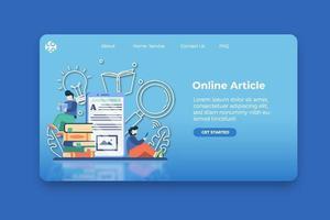 Ilustración de vector de diseño plano moderno. página de inicio de artículo en línea y plantilla de banner de sitio web. lectura en línea, educación a distancia, educación en el hogar, educación digital, concepto de e-learning.