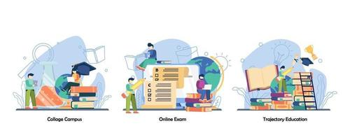 vida estudiantil, prueba de evaluación, conjunto de iconos de graduación. campus collage, examen en línea, trayectoria educación vector diseño plano concepto aislado metáfora ilustraciones