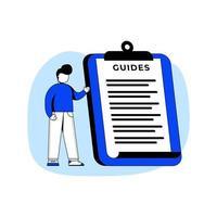 guías icono de ilustración de vector de concepto de diseño plano. manual de usuario, redacción del contrato, cómo, documento de especificaciones de requisitos, metáfora abstracta. puede utilizar para la página de destino, aplicación móvil.