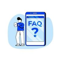 FAQ flat design concept vector illustration icon. Online Support center, Frequently Asked Questions, Answer to question. Abstract Metaphor. can use for landing page, mobile app.