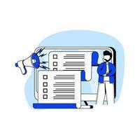 Icono de ilustración de vector de concepto de diseño plano de regla empresarial. lista de verificación de regulaciones, derecho legal, regulación corporativa, cumplimiento de empresarios, lineamientos. metáfora abstracta para la página de destino, aplicación móvil.