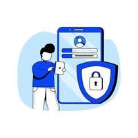 Ilustración de vector de concepto de diseño plano de seguridad cibernética. protección de datos, seguridad en internet, confidencialidad. metáfora abstracta. se puede utilizar para la página de destino, la aplicación móvil, la interfaz de usuario, carteles, pancartas