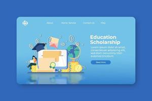 Ilustración de vector de diseño plano moderno. Plantilla de banner de sitio web y página de destino de becas educativas. educación global, educación a distancia, préstamos estudiantiles, inversión en educación, educación en el extranjero.