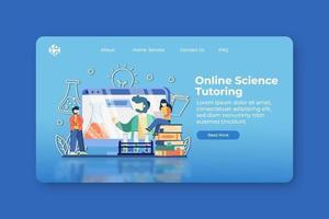 Ilustración de vector de diseño plano moderno. Página de inicio de tutoría científica en línea y plantilla de seminario web. educación en línea, aula digital, e-learning, educación a distancia.