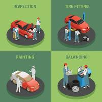 car maintetance service isometric 2x2 vector