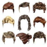 conjunto de peinado de hombres realistas vector