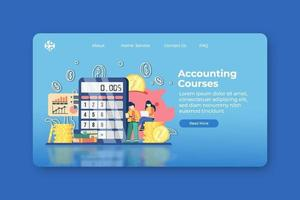 Modern flat design vector illustration. Accounting Courses Landing Page and Web Banner Template. Finance Education, Training, Digital Education, Distance Education, Bookkeeping, Money calculation
