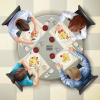 vista superior mesa de personajes comiendo vector