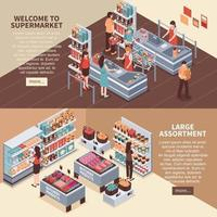 isometric supermarket banners vector