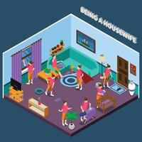 housewife isometric people composition