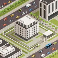 government buildings isometric composition vector