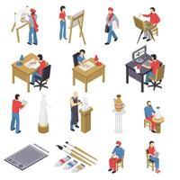 isometric people artist painting professions set vector