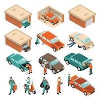 isometric garage set vector