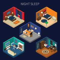 tiempo de sueño trastornos del sueño composición isométrica vector