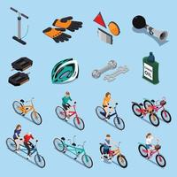 bicycle isometric icons vector