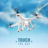 drone realista en el cielo vector